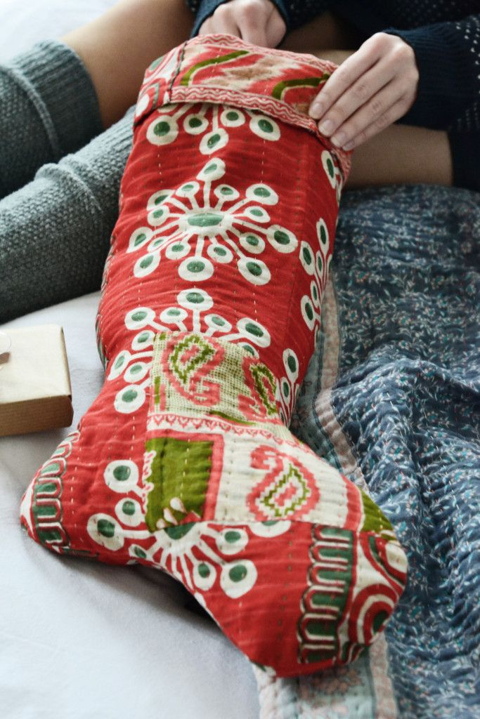 Recycled sari Christmas stocking made from vintage saris by women survivors of trafficking in Bangladesh. Each one is unique. - from Decorator's Notebook Shop (they ship to UK, Europe and USA)