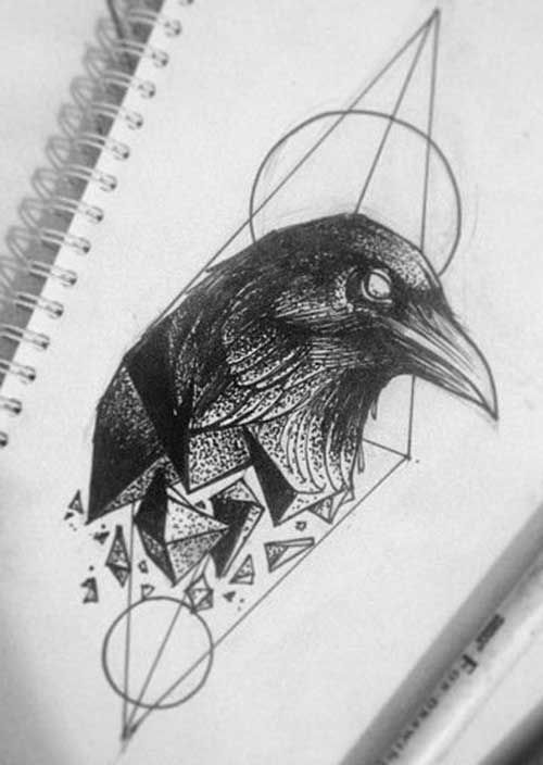 Geometric Raven Tattoos