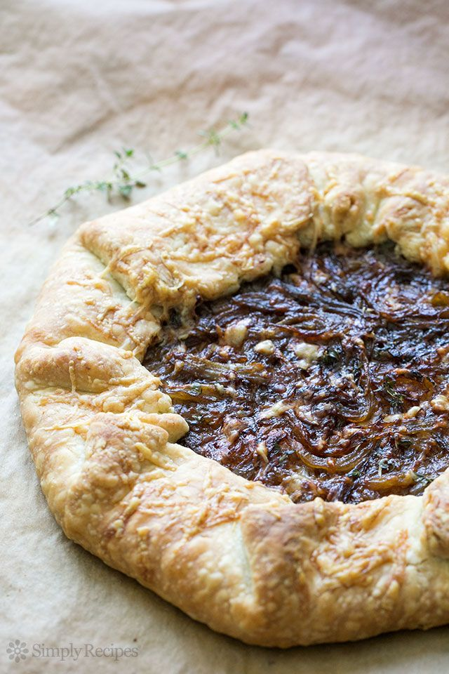Rustic Onion Tart ~ Rustic onion tart with caramelized red onions, Gruyere cheese, and a butter crust. ~ SimplyRecipes.com