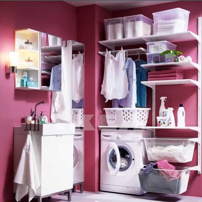 This is a laundry room by Ikea. Corrie's Notes: We actually implemented this idea, using Ikea's Algot line to create a drying rack, hanging rack, and storage space in our laundry room. It works beautifully!