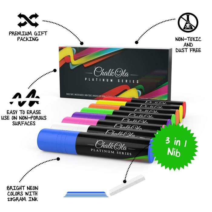 Jumbo Neon Color Chalk Markers With 15mm Nib Pack Of 8 Pens Chalk Markers Chalk Markers Lettering Neon Colors