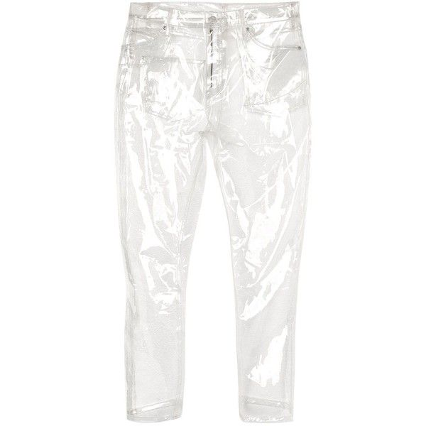 TopShop Moto Clear Plastic Straight Leg Jeans ($100) ❤ liked on Polyvore featuring jeans, pants, clear, cropped jeans, white straight leg jeans, straight leg jeans, sequin jeans and white jeans