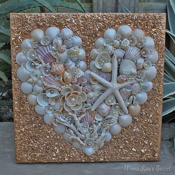 Valentine's Day Decor, Seashell Heart Collage, Mixed Media Heart Painting, Seashell Valentine's Decor, Beach Wedding Decor, Coastal Wall Art