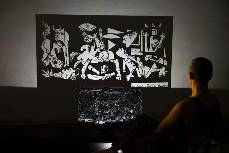 my version of Guernica...light & shadow art...(size of metal framework: 80 x 40, size of shadow: 2.10 x 1.30)...#shadow #shadowart #light #lightandshadow #shadowartist #greece #greekartist #greekart #shadowtechnique #guernica #picasso #teodosio #teodosiosectioaurea