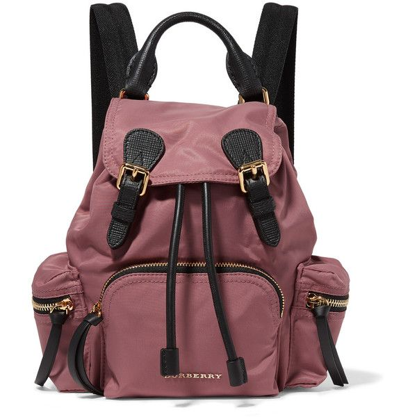 Burberry Prorsum Small textured leather-trimmed gabardine backpack ($1,150) ❤ liked on Polyvore featuring bags, backpacks, antique rose, military style backpack, waterproof daypack, military bags, strap backpack and burberry