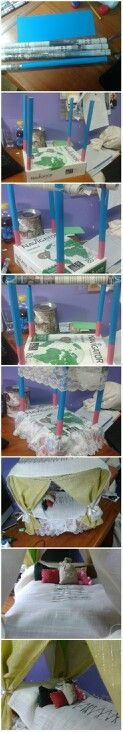 DIY canopy bed for dolls. DIY for your kids.