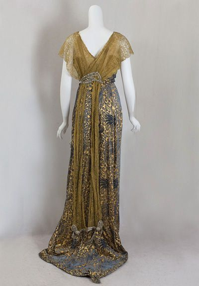 Back: Edwardian Evening Dress, 1912-1915, patterned silk velvet skirt, with lace and beadwork.