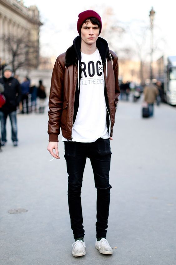 Brown Leather Jacket with White Tshirt & Beanie.