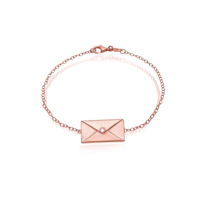 """""""Love Letter"""" silver bracelet, pink gold plated with a polished finish and a diamond. For engraving in the back of the letter, please add your message, name or word in your order."""