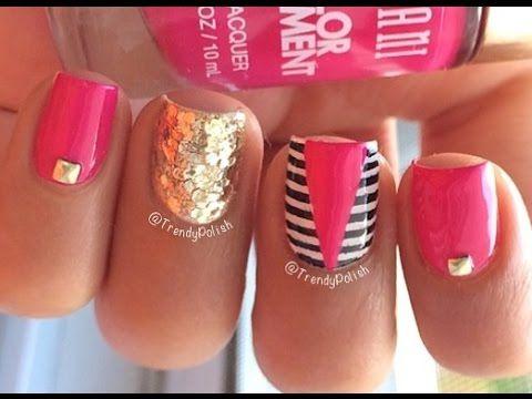 Pink Edgy Nail Art (Stripes, Glitter & Studs) - YouTube - Ponad 25 Najlepszych Pomysłów Na Pintereście Na Temat Tablicy Edgy
