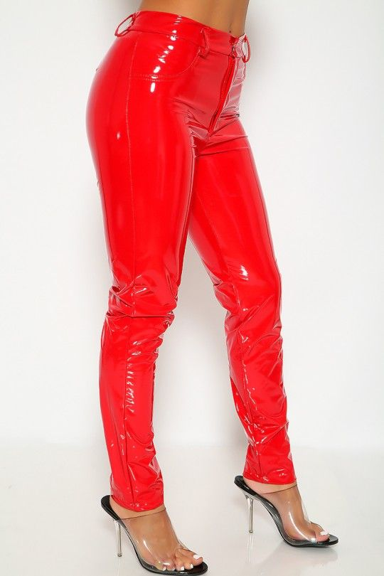 7c6270e905155 Sexy Red Faux Leather High Waist Casual Pants | PVC and vinyl ...