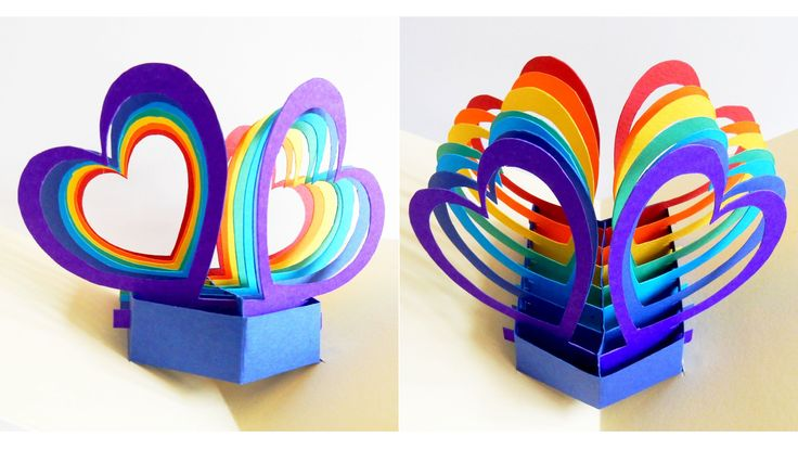 Pop up card (twin hearts) - learn how to make a popup heart greeting car...