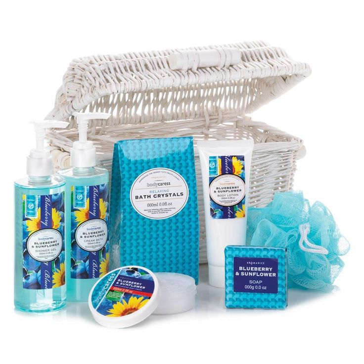Dont let the summer slip away! Brighten any day with the luscious scent of blueberries and sunflowers from the spa-worthy bath essentials all in this white woven basket.   Set includes: 3.5 oz. bath crystals, 1.7 oz. soap, 4 fl oz. body lotion, 8.4 fl oz. cream bath, 8.4 fl oz. shower gel and 1.7 fl oz. body cream.