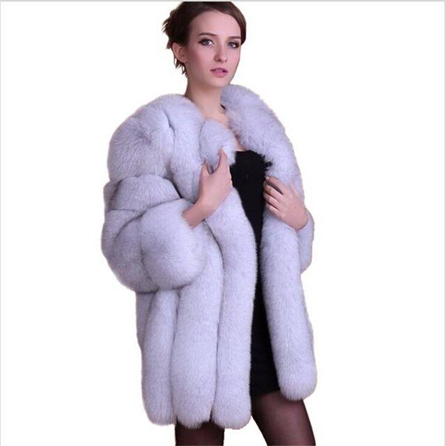 Hot! 2016 hiver nouvelle imitation renard manteau de fourrure de luxe manteau de vison femmes long manteau en fausse fourrure manteau femmes chaud Lady Vêtements taille XS-6XL