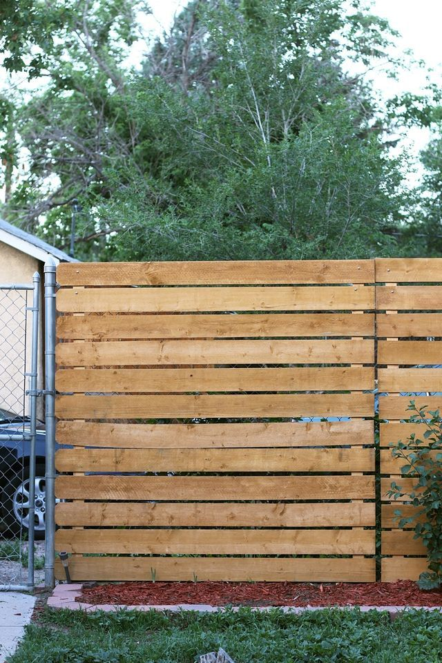 Cover an ugly existing chain link fence with wood slats for more privacy