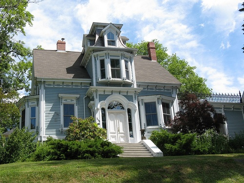 One of the many fine historic houses in Lunenburg, Nova Scotia. This one again has a very exuberant Scottish Dormer, known as a Lunenburg Bump.