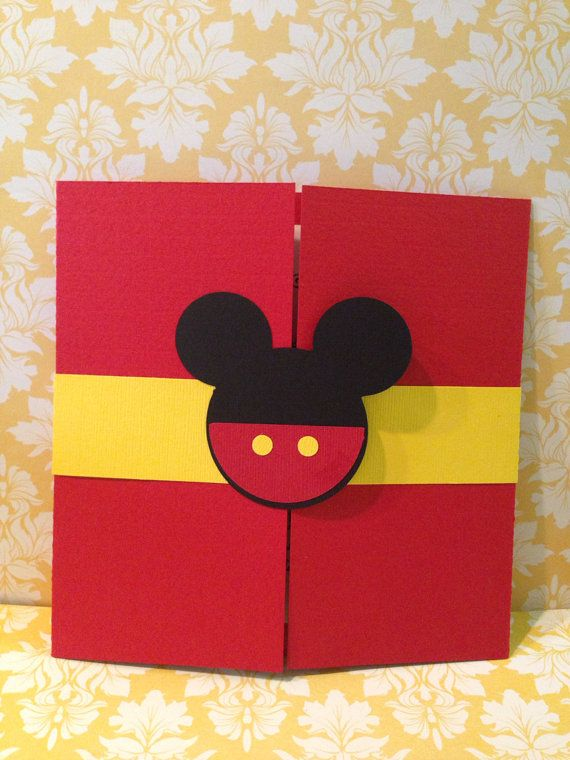 25 Mickey Mouse gatefold birthday by PaperDivaInvitations on Etsy
