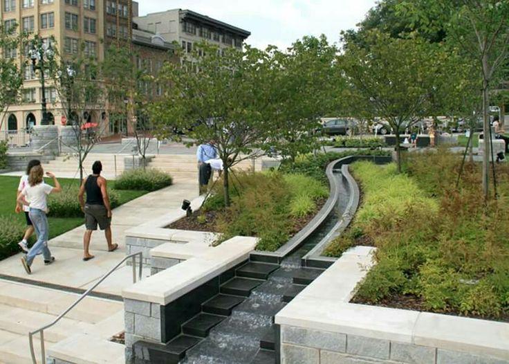Pack Square Park, Asheville, N.C., Plaza Fountain Canal.  Cole Jenest & Stone provided civil engineering, landscape architecture, and urban design.  -The LA Team  www.landarchs.com