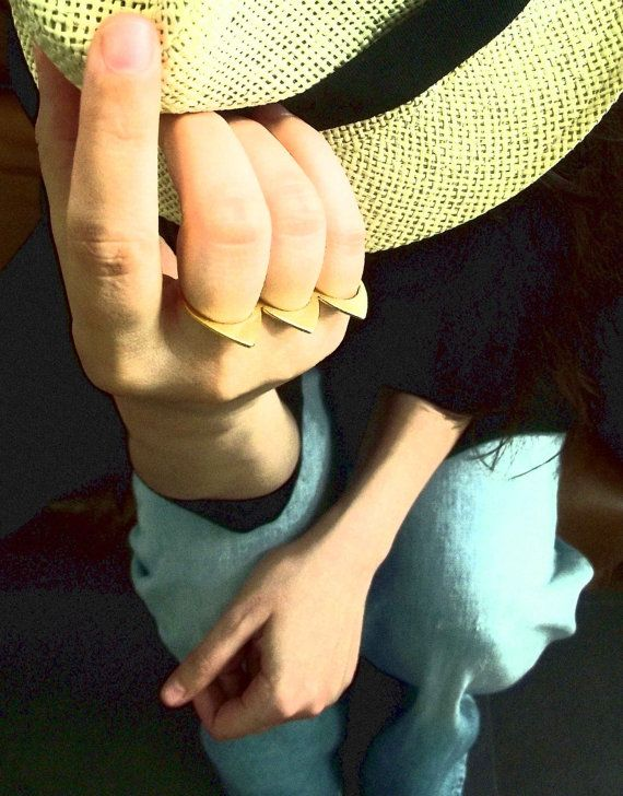 Knuckle Ring, Stacking Rings. Ultra Thin Geometric Ring. Delicate Gold Plated Ring