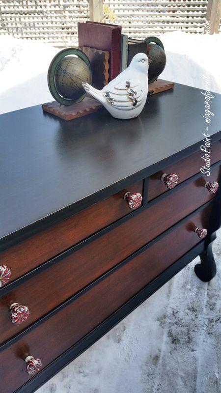 Painted Empire Dresser General Finishes Lamp Black Antique Walnut Gel Stain  Studio Paint - www.niagarafurniturepainting.com