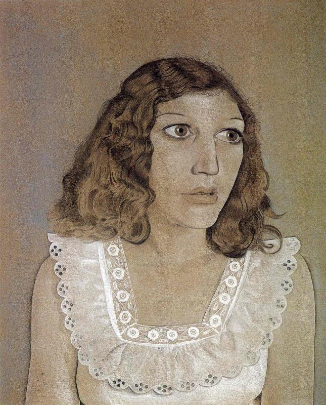 Художник - Люсьен Фрейд, картина «Девушка в белом платье»