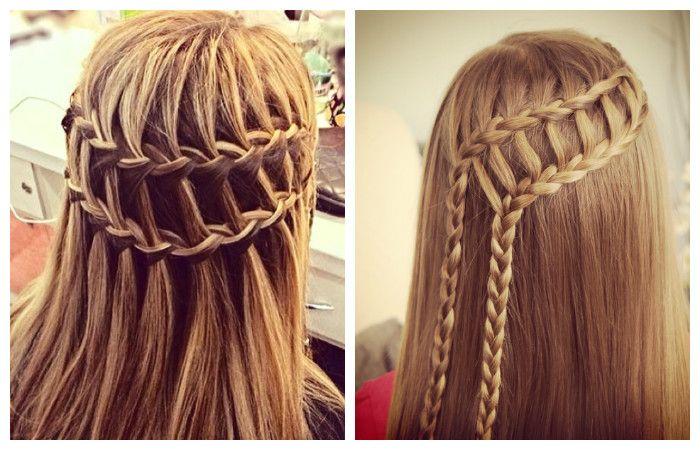 """Прическа """"двойной водопад"""" для длинных волос, фото"""