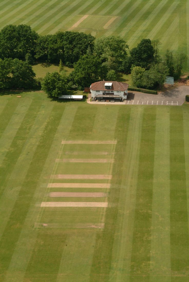 Jubilee Cricket pitch with the Jubilee Memorial Pavilion from above