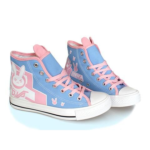 NERF THIS! Cute D.Va Overwatch Canvas High Top Running Shoes Bunny Kawaii Harajuku Tumblr Gamer Girl Twitch
