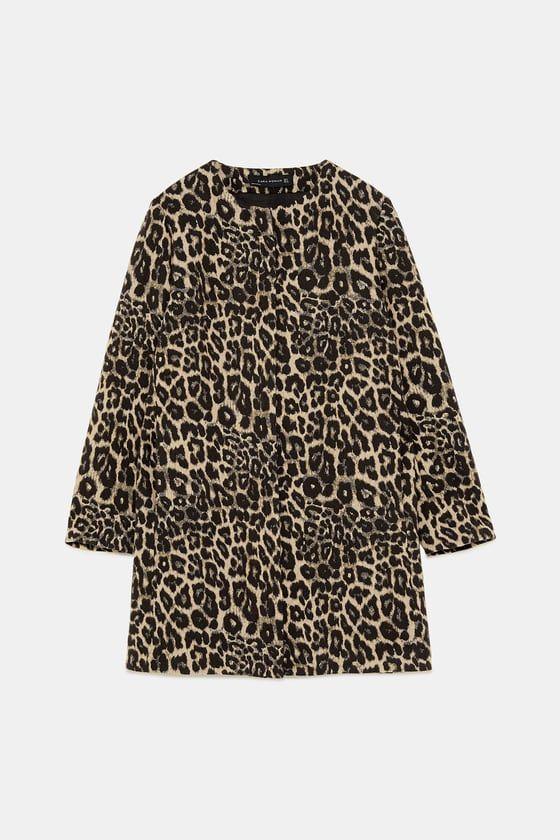 7f9880068644 JACQUARD ANIMAL PRINT / Leopard print COAT from Zara. FW Trends 2018/2019