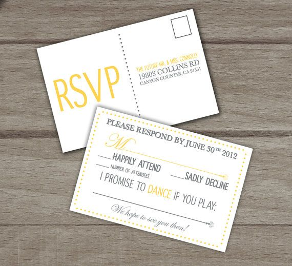 I like the response cards here. Cute way to request songs and have guests add total number of attendees. Eat Drink and Be Married  Modern Wedding by TheMemoryTrunk on Etsy, $3.50