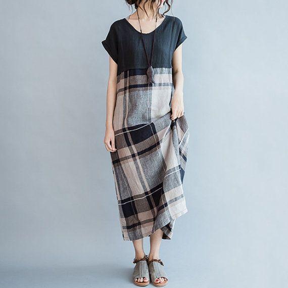 robe de lin pour taille plus robe de robe/lin loose par babyangella