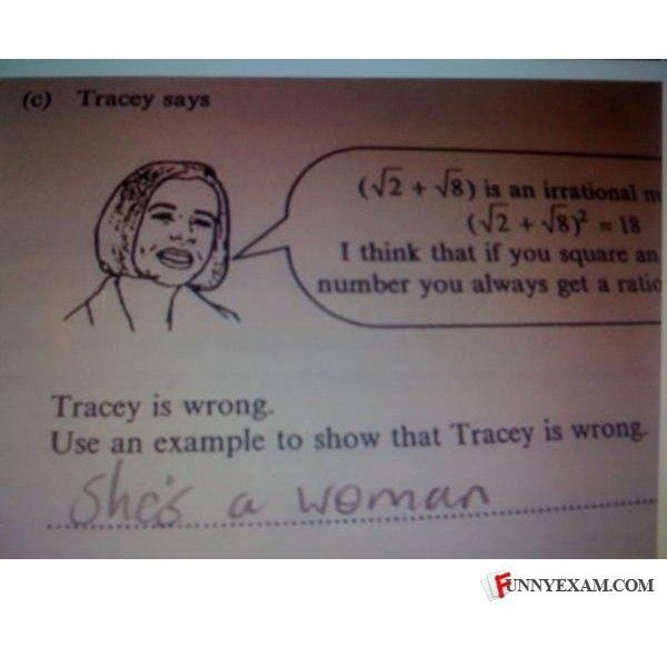 Funny Exams - Tracy is wrong because she is a repetiti ❤ liked on Polyvore featuring funny, backgrounds, pictures, quotes, lol, text, phrase and saying