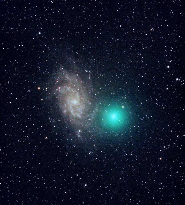 Comet Tuttle - Giampaolo Salvato photographed Comet Tuttle on Dec. 30, 2007 as it appeared near the spiral galaxy M33. The image was taken from northern Italy with a backyard telescope and a digital camera.