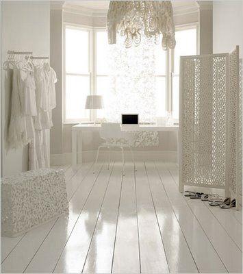 I love the high gloss white floors!