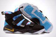 Nike Lebron Soldier Lastest Nike LeBron Soldier 11 Black Blue Gold LeBron By Nike LeBron Soldier XI Basketball Shoe For Sale