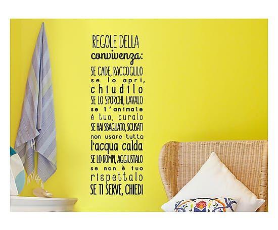 Adesivo da parete in vinile Regole della Convivenza, 30x90 cm