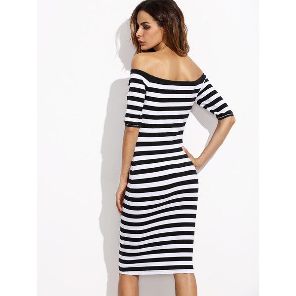 Two Tone Striped Bardot Pencil Dress ❤ liked on Polyvore featuring dresses, two tone dress, striped pencil dress, 2 tone dress, white striped dress and white pencil dress