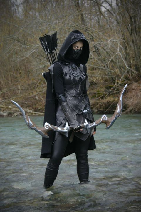 """""""A warrior princess denies her inner demons entrance into a world she fights to protect; for they have no place in a life that craves personal victory.""""...bh [Skyrim: Nightingale Cosplay]"""