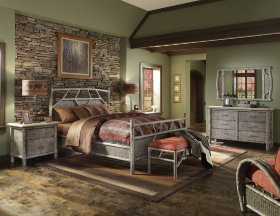 Master Bedroom Ideas - love the stacked stone accent wall!
