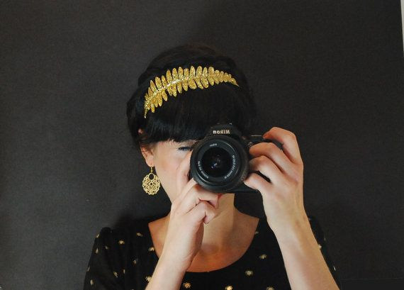 Gold sparkly headband for women womens hair by Fitzberries