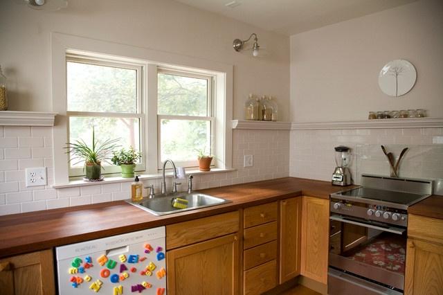 no upper cabinets trim shelf to cap backsplash kitchen pinterest transitional kitchen. Black Bedroom Furniture Sets. Home Design Ideas