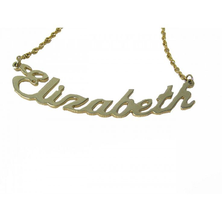 Yellow Gold Name Necklace with curved design.  Something special for a gift or for yourself.