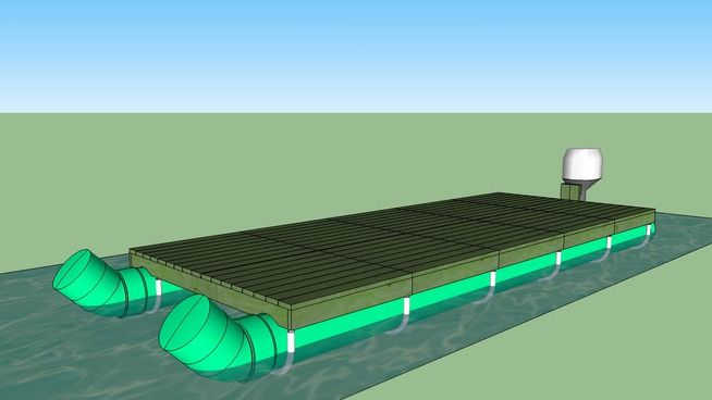 Large preview of 3D Model of Modular PVC Pipe Pontoon Boat