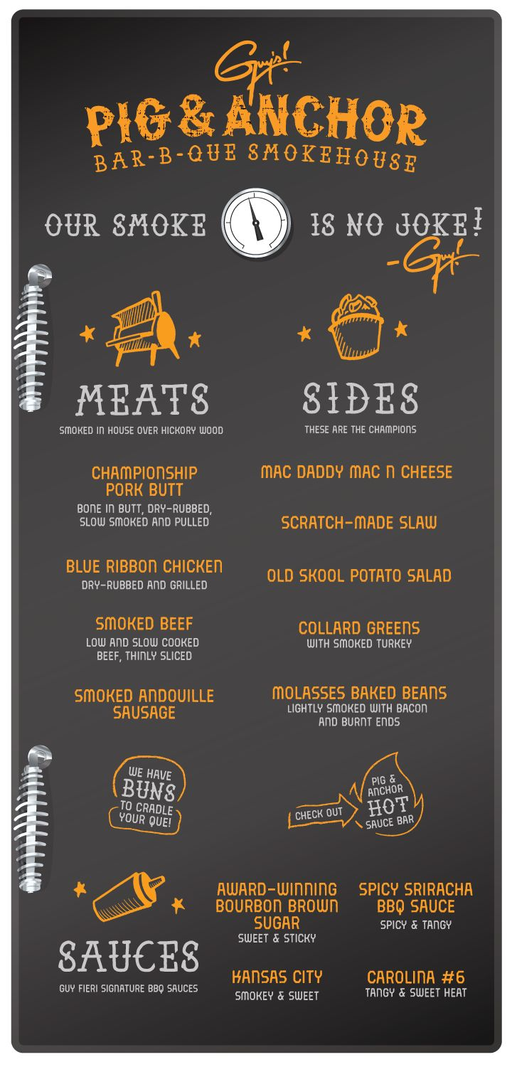 Guy's Pig and Anchor Bar-B-Que Smokehouse Menu on Carnival Magic - Carnival Cruise Line