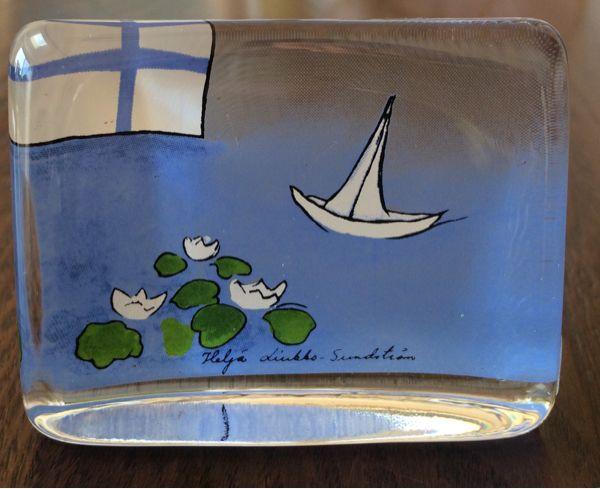 ★稀少★ ヘルヤ アラビア ガラス製 カード / 北欧 ARABIA 海_画像1