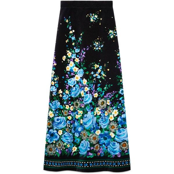 Gucci Flower Fountain Velvet Skirt ($1,855) ❤ liked on Polyvore featuring skirts, ready-to-wear, women, knee length a line skirt, mid length skirts, velvet skirt, print skirt and patterned skirts