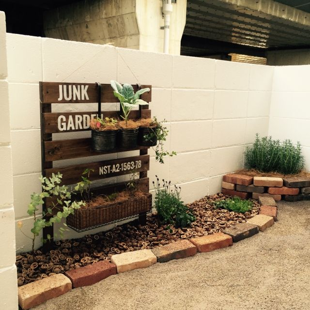246ra_Rieさんの、玄関/入り口,観葉植物,ガーデニング,DIY,レンガ,ステンシル,くるみの殻,のお部屋写真