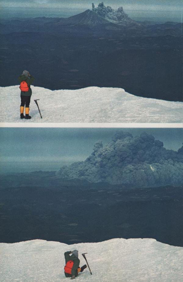 Eruption of Mt. Saint Helens, as seen by climbers on nearby Mt. Adams