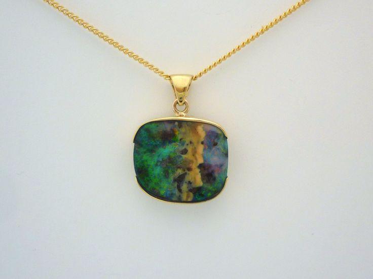 Gold and boulder pendant. #boulder_opal #opal #jewellery #necklace #Queensland