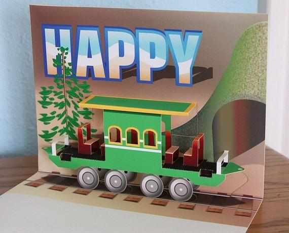 3D Pop-up Train Passenger Car Birthday card #hobbytrains | Hobby